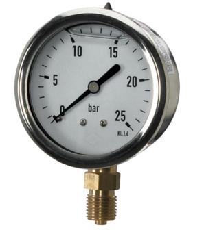 Glyzerinmanometer Edelstahl DM63 – Anschluss unten